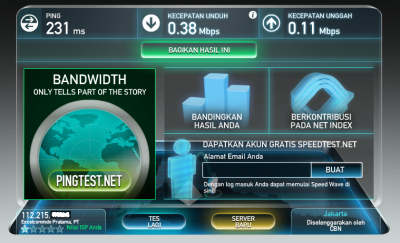 hasil test kecepatan koneksi internet xl saya